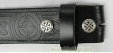 Celtic Embossed Real Leather Trouser Men's Snap Belt 1.5″ with Celtic Snap Heads