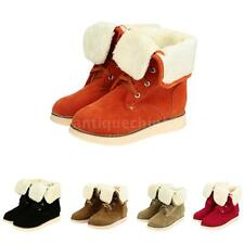 Women Faux Suede Snow Shoes Faux Fur Ankle Boots Lined Lace Up NEW Winter 5CS2