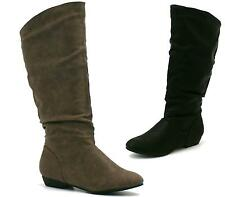 WOMENS LEATHER STYLE FLAT PULL UP SLOUCH MID CALF RIDING CASUAL BOOTS SHOES