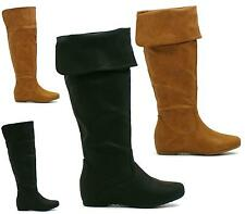 WOMENS LADIES FLAT CUFF KNEE HIGH PULL ON FUR LINED SLOUCH BOOTS SIZE