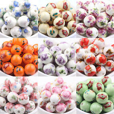 10pcs Floral Printed Ceramic Porcelain Loose Spacer Beads Jewelry Findings 12mm