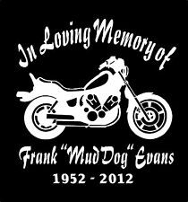 Motorcycle In Loving Memory Of Decals Two Personalized Car Window Vinyl Decal