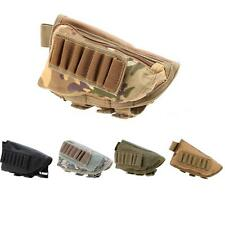 Tactical Military Rifle Stock Ammo Pouch Holder With Leather Pad 8O86