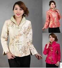 Chinese Women's Silk Embroidery Jacket /coat Sz: 8 10 12 14 16 Beige Orange Reds