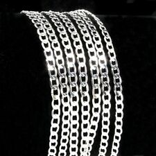 Wholesale 1/5/10pcs Silver Plated 2mm Flat Curb Chain Necklace 16-24 inch