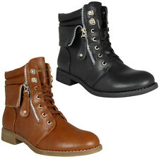 WOMENS LADIES COMBAT MILITARY ARMY LOW HEEL FLAT LACE UP ANKLE BOOTS SHOES SIZE