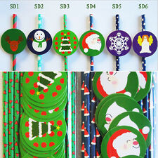 25x Christmas Day Paper Drinking Straws with 25x Funny Sticker Tags Party Decor