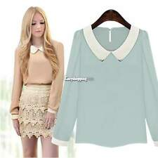 Casual OL Women Chiffon Long Sleeve Peter Pan Collar Top Blouse T-Shirt Shirts