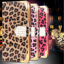 Luxury Leopard Leather Case Bling Diamond Flip Wallet Cover For Samsung iPhone