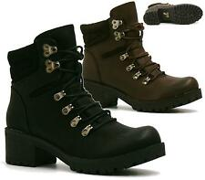 WOMENS COMBAT ARMY MILITARY BIKER LOW HEEL LACE UP WORKER ANKLE BOOTS SIZE