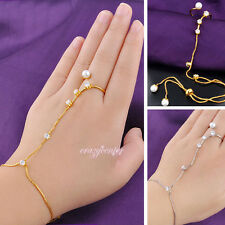 Faux pearl hand chain bracelet ring Adjustable crystal palm bracelet Women gift