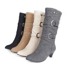 New women mid calf boots low heels faux suede pull on 2 buckle strappy shoes Hot