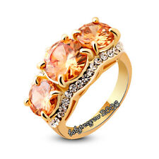 Noble Citrine 18K Yellow Gold GP Fashion Cocktail Ring M847