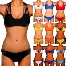 Sexy Women Bandeau Push Up Padded Top Bikini Set Swimwear Swimsuit Bathers FO