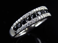 Ladies Simulated Black Diamond Bridal Engagement Ring In White Gold Finish 5MM