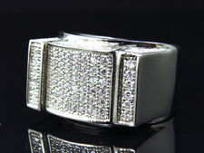 Men Stainless Steel Simulated Diamond Bar Style Ring In White Gold Finish 13mm