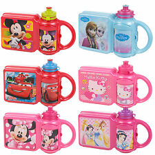 Childrens Disney Lunch Food Box & Non Spill Sports Bottle School Travel Bag Set