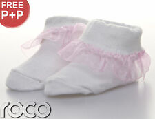 BABY GIRLS WHITE AND PINK GIFT PLAIN FRILLY SOFT COTTON DESIGN SOCKS SHOES