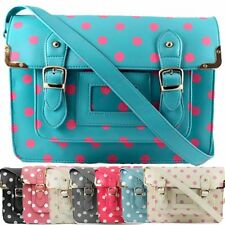Polka Dot Vintage Leather Style School Satchel Work Laptop Bag Handbag MEDIUM