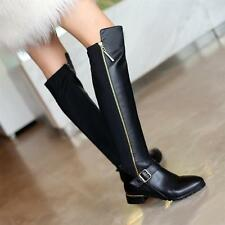 New women's black leather knee high boots buckle zipper oxfords shoes US5-10
