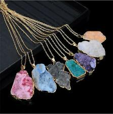 Woman Healing Point Natural Crystal Quartz Pendant Chakra Bead Stone Necklace