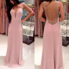 Sexy Women Ladies Strap Deep V Neck Backless Party Evening Long Bridesmaid Dress