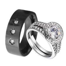 Men Women Titanium Silver 925 CZ Engagement Wedding Ring Sets His & Hers