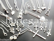 20 Silver Plated Necklaces with Mixed Theme Pendants Wholesale Jewellery Job Lot