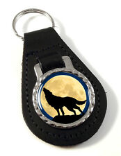 Howling Wolf Leather Key-fob/Metal Keyring
