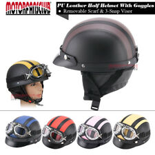 Motorcycle Scooter Open Face PU Leather Retro Half Helmet w/ Goggles For Harley