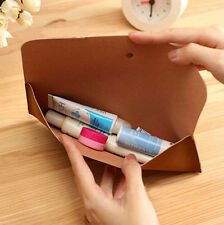 Woman Vintage Cosmetic Makeup Suede Leather Bag Fashion Pen Pencil Case Pouch