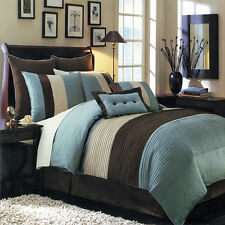 Hudson Blue Luxury 8 Piece Comforter Set Skirt Shams and Pillows - All sizes
