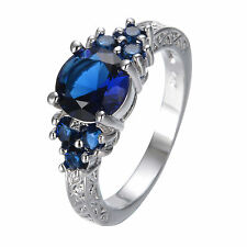 Blue Sapphire Zircon Ladys Wedding Promise Ring Sz 6-11 Jewelry 10KT Gold Filled