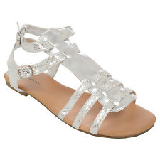 Platino Womens Ladies Summer Beach Buckle Flat Sandals Shoes - Silver