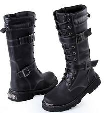 2015 Mens Mulity buckle knee high boots PU Leather Long Combat boots Winter PUNK