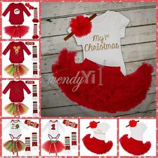 4Pcs Newborn Infant Baby Girl Outfit Tutu Romper Christmas Dress Up Clothing Set