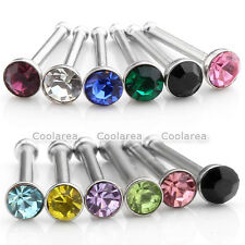 6pcs Steel Mix Color Czech Crystal 20G Nose Bars Barbell Stud Ring Body Pericing