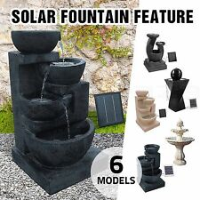 Solar Power Multi Tier Bird Bath Water Fountain LED Light Garden Feature Pump