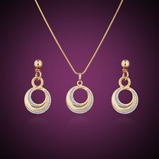 Ocassion Jewelry! 18K Multi-Tone Gold white Sapphire vogue earring+pendant Sets