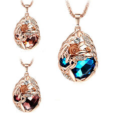 Women Wheatear Hollow  Long Sweater Chains Rhinestone Crystal Pendant Necklace