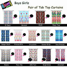 GLOW IN THE DARK - Pair of Tab Top Curtains - BOYS GIRLS NURSERY