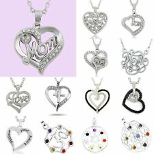 Mother's Day Gifts Letter Silver Family Heart Handmade Choker Necklace Pendant