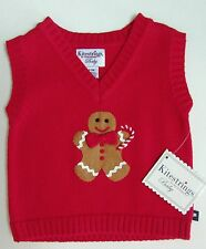 Kitestrings / Hartstrings Gingerbread Man Holiday Vest Sweater Sz 0-3 or 3-6 NWT