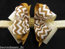 Wedding Flower Girl Christmas Ivory Gold Chevron Boutique Hair Bow Clip Headband