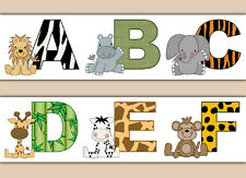 Jungle Animal Alphabet Letters Wallpaper Border Wall Decals Boy Safari Stickers