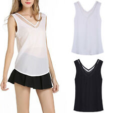 Casual Loose V-Neck Vest Tops Sleeveless Woman Chiffon Sheer Tank T-Shirt Blouse