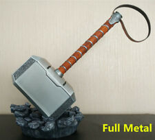 FULL METAL 1:1 Avengers Thor Hammer Replica Prop Mjolnir LED Lights Stand Base