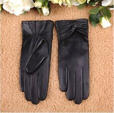 Women's Gift Genuine Lambskin Leather Winter Warm Cashmere Lined Gloves Black