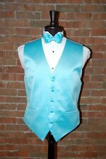 MENS LARGE POOL BLUE TUXEDO VEST / BOW or TIE by CARDI INTERNATIONAL  SATIN