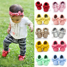 Baby Fashion Soft Sole Leather Shoes Toddler Infant Boys Girls Bowknot Moccasin